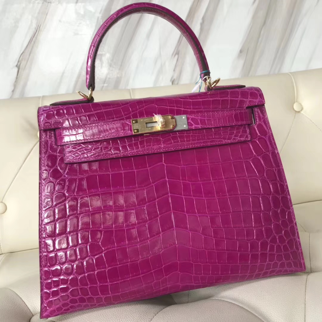 Hermès(爱马仕)Kelly28cm Crocodile shiny 亮面两点鳄鱼 J5 天方夜谭粉紫 金扣
