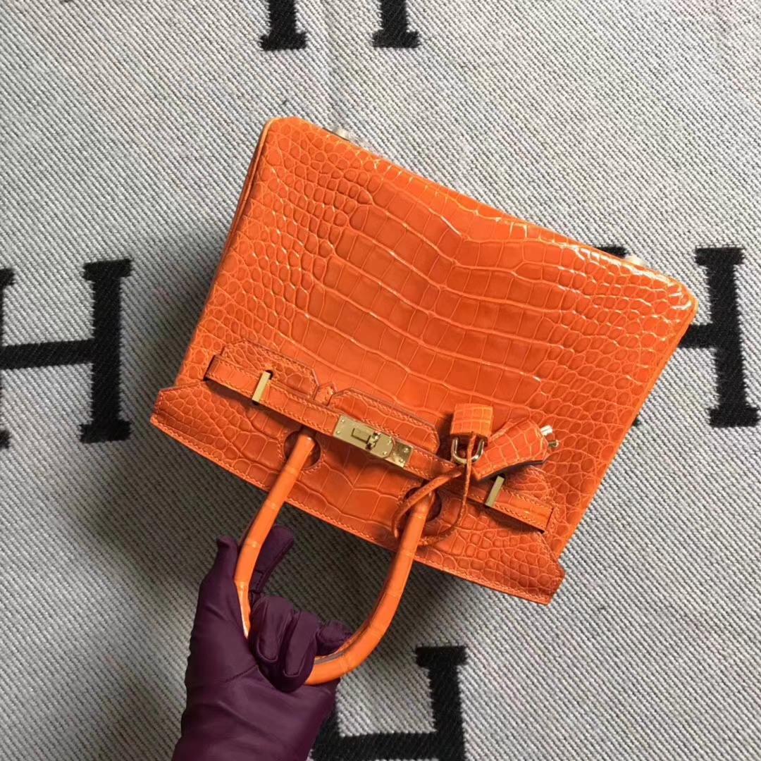 Hermès(爱马仕)极品美洲鳄方块 birkin 25cm 橙色 超级好看