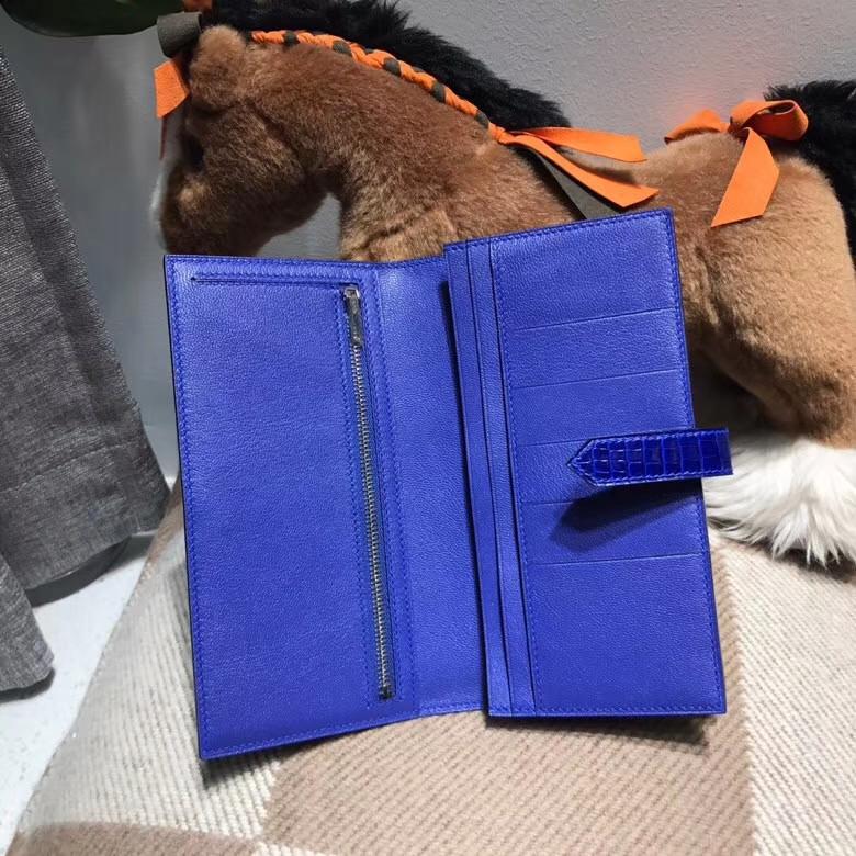 Hermès(爱马仕)Bearn两折钱夹 7T Blue Electric电光蓝 最经典的蓝色 银扣
