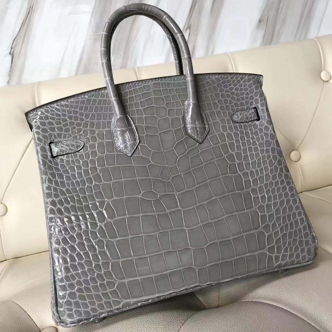 Hermès(爱马仕)Birkin25cm Alligator shiny亮面鳄鱼 浅灰 银扣 气质灰 现货