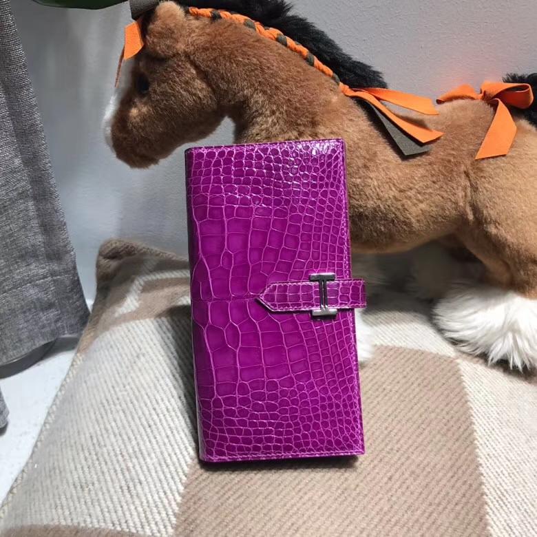 Hermès(爱马仕)Bearn两折钱夹 P9 Anemone海葵紫色 银扣 紫中带蓝的颜色