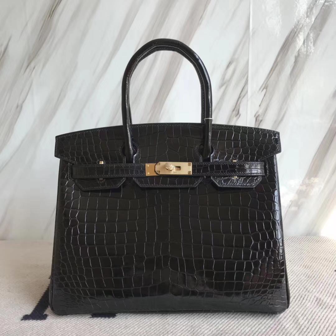 Hermès(爱马仕)Birkin30cm Porosus shiny 亮面澳洲湾鳄  ck89 黑色 金扣  品相超赞  现货