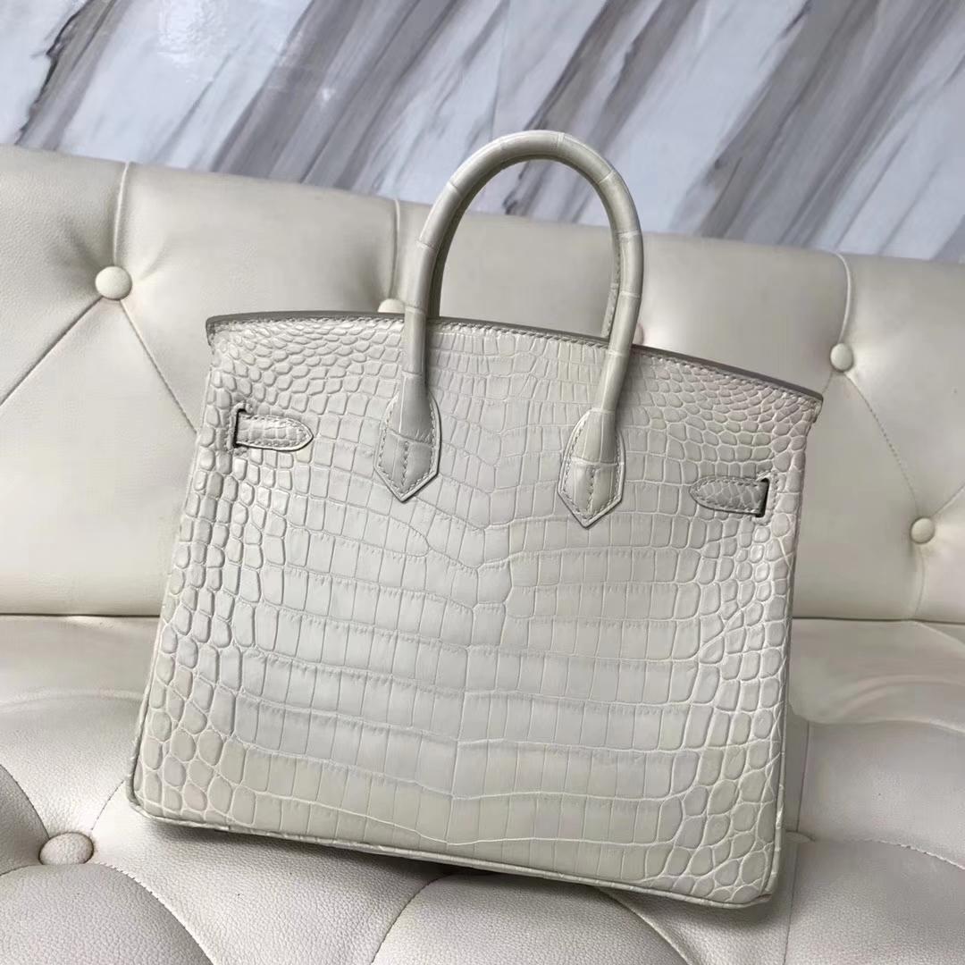 Hermès(爱马仕)Birkin25cm Crocodile matt 雾面鳄鱼8L 奶油白 Beton 银扣