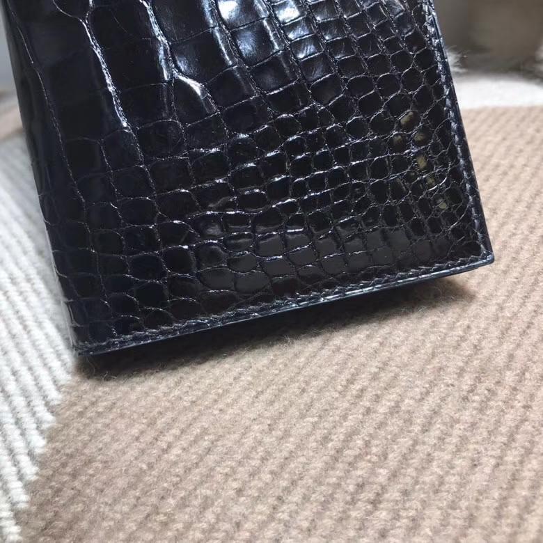 Hermès(爱马仕)bearn两折钱夹光面黑色 nior ck89 金扣 最经典不衰的颜色