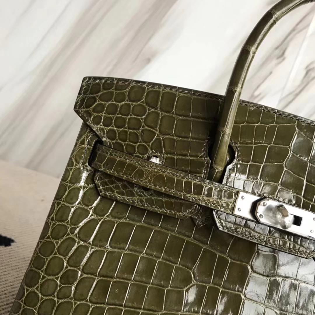 Hermès(爱马仕)Birkin25cm Crocodile shiny 亮面鳄鱼 6H 橄榄绿 银扣