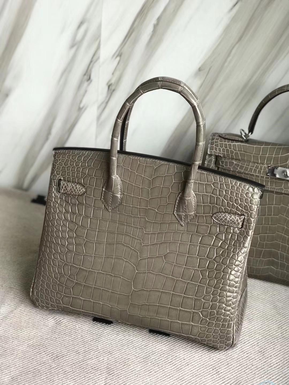 Hermès(爱马仕)Birkin30cm Porosus shiny 亮面澳洲湾鳄  ck18 斑鸠灰 Gris T 金扣