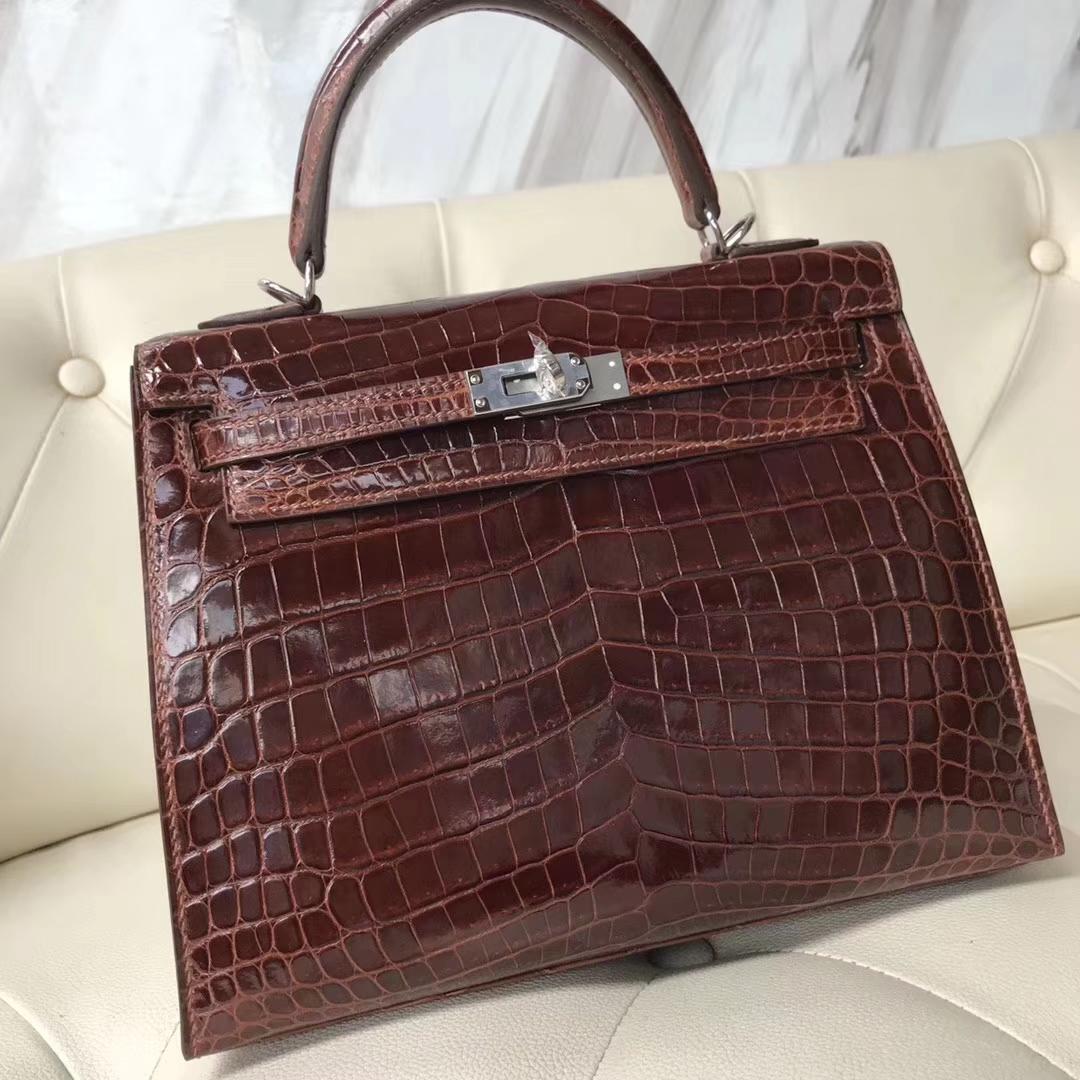 Hermès(爱马仕)kelly25cm Crocodile shiny 亮面鳄鱼 ck31 蜜糖棕 miel 银扣