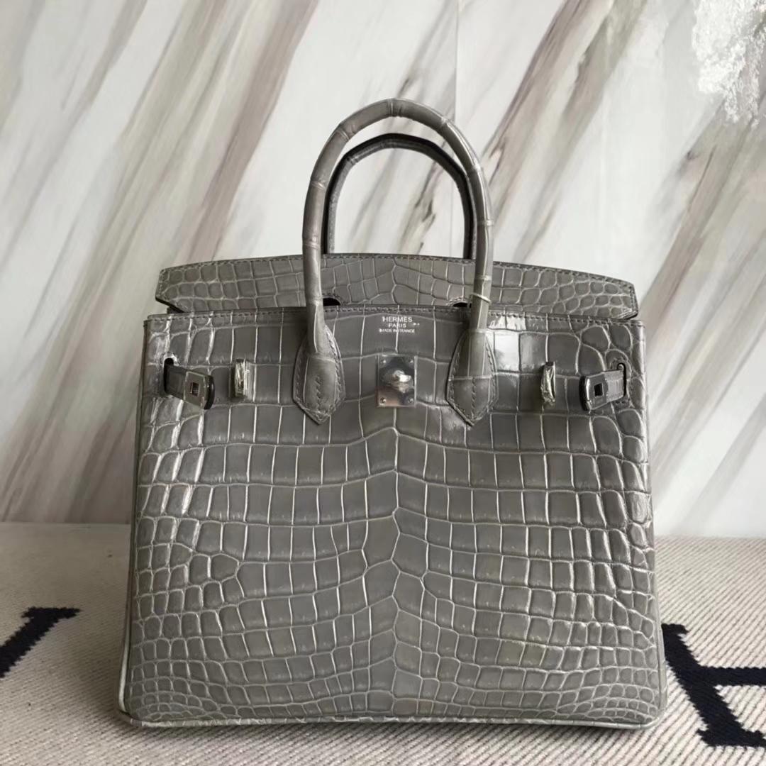 Hermès(爱马仕)Birkin25cm Crocodile shiny 亮面鳄鱼 M8 巴黎灰 银扣
