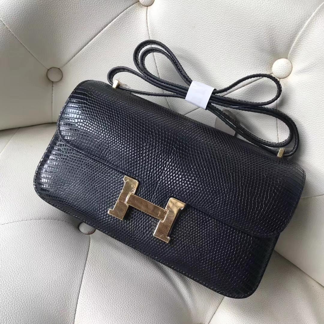 Hermès(爱马仕)Constance26cm lizard 进口蜥蜴皮 ck89黑色 蜡线全手工 接受定制