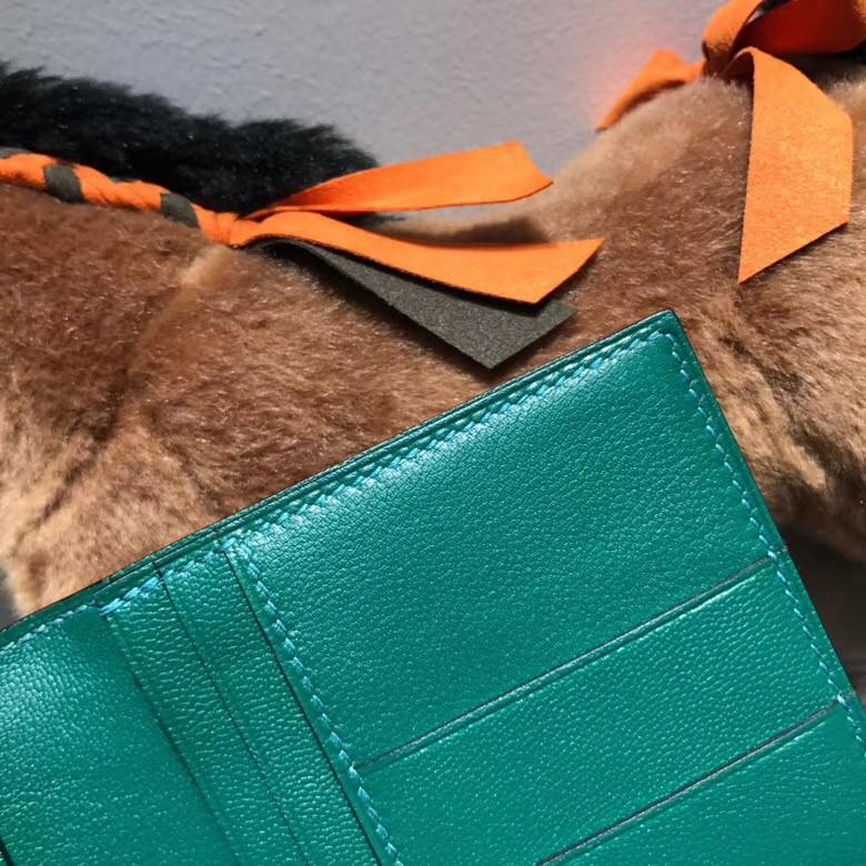 Hermès(爱马仕)bearn两折钱夹鸵鸟皮 U4 Vertigo 丝绒绿 银扣