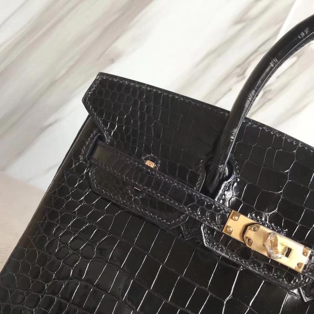 Hermès(爱马仕)Birkin25cm Porosus shiny 亮面澳洲湾鳄 ck89 黑色 金扣