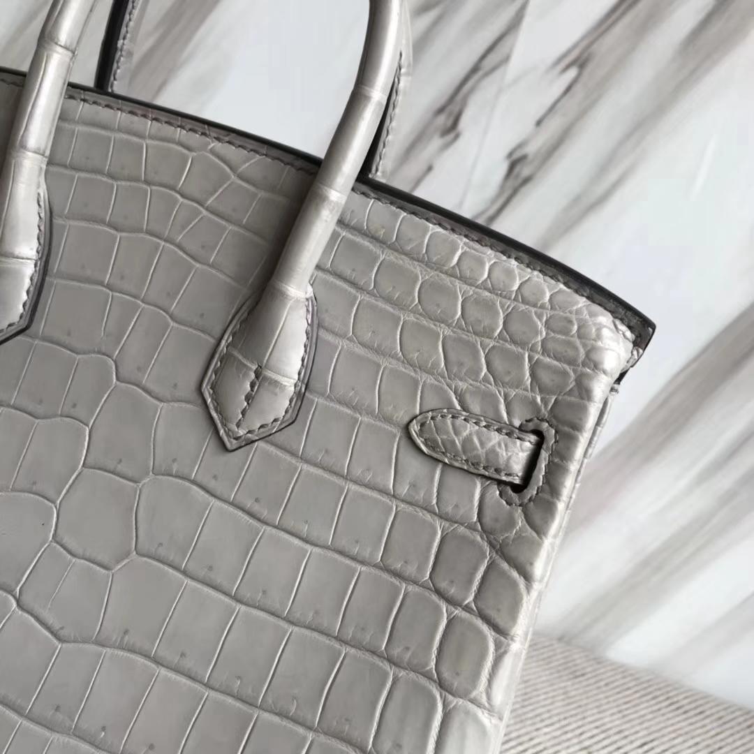 Hermès(爱马仕)Birkin25cm Crocodile matt 雾面鳄鱼 M8 巴黎灰 公路灰 银扣