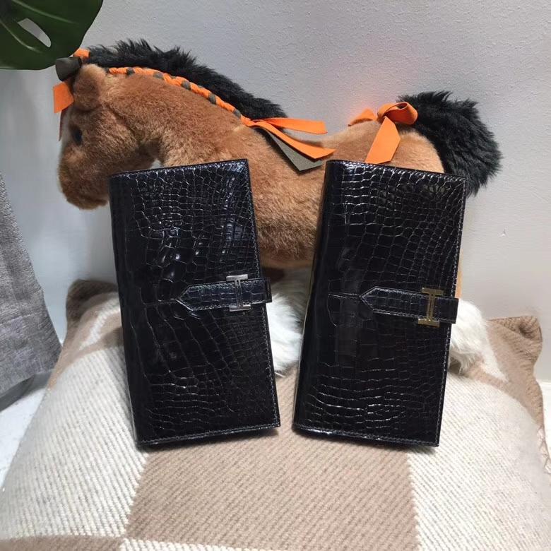 Hermès(爱马仕)bearn两折钱夹光面黑色 nior ck89 银扣 最经典不衰的颜色