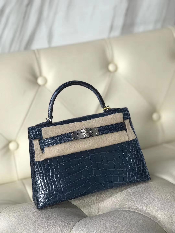 Hermès(爱马仕)Minikelly ll Alligator  shiny 方块鳄鱼 7N 风暴蓝 银扣