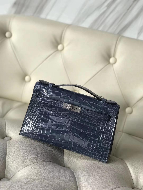 Hermès(爱马仕)Minikelly pochette 22cm Alligator shiny 亮面鳄鱼 7N 风暴蓝 银扣