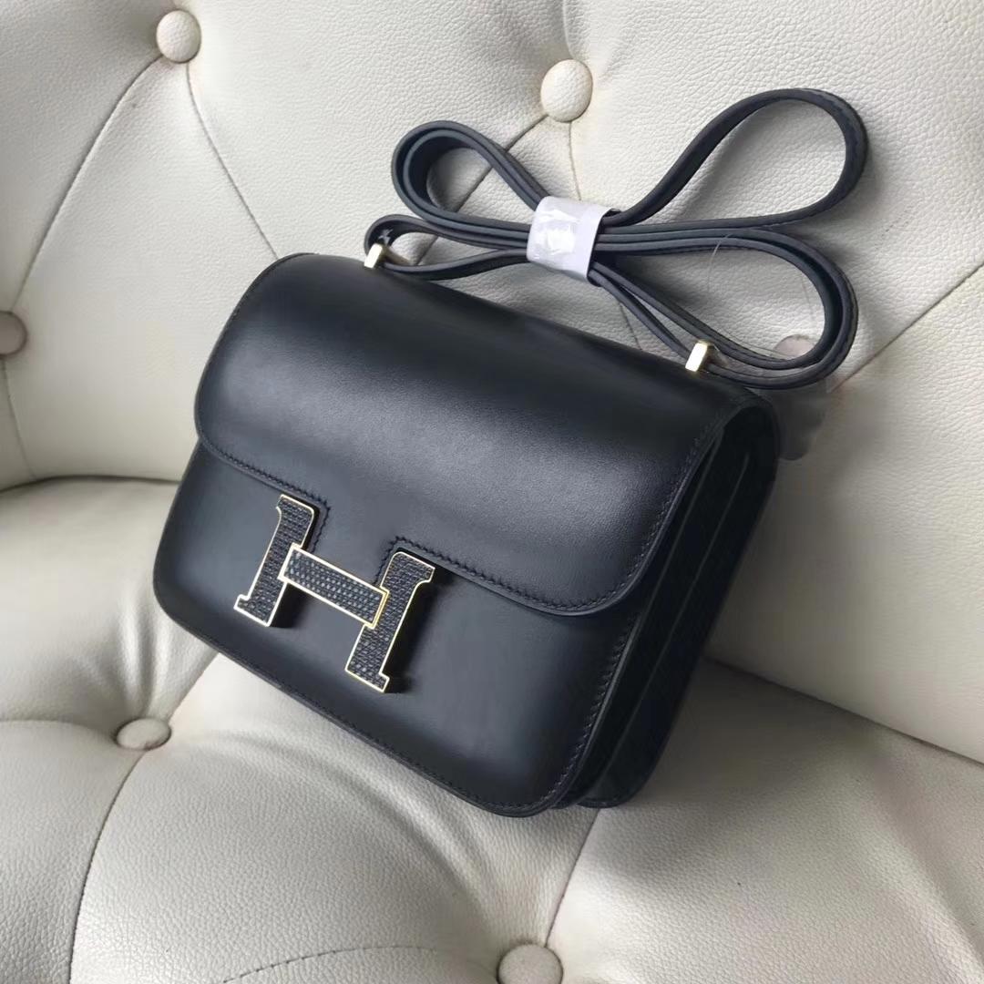 Hermès(爱马仕)Constance18cm Box calf  ck89 黑色 蜥蜴扣 金扣
