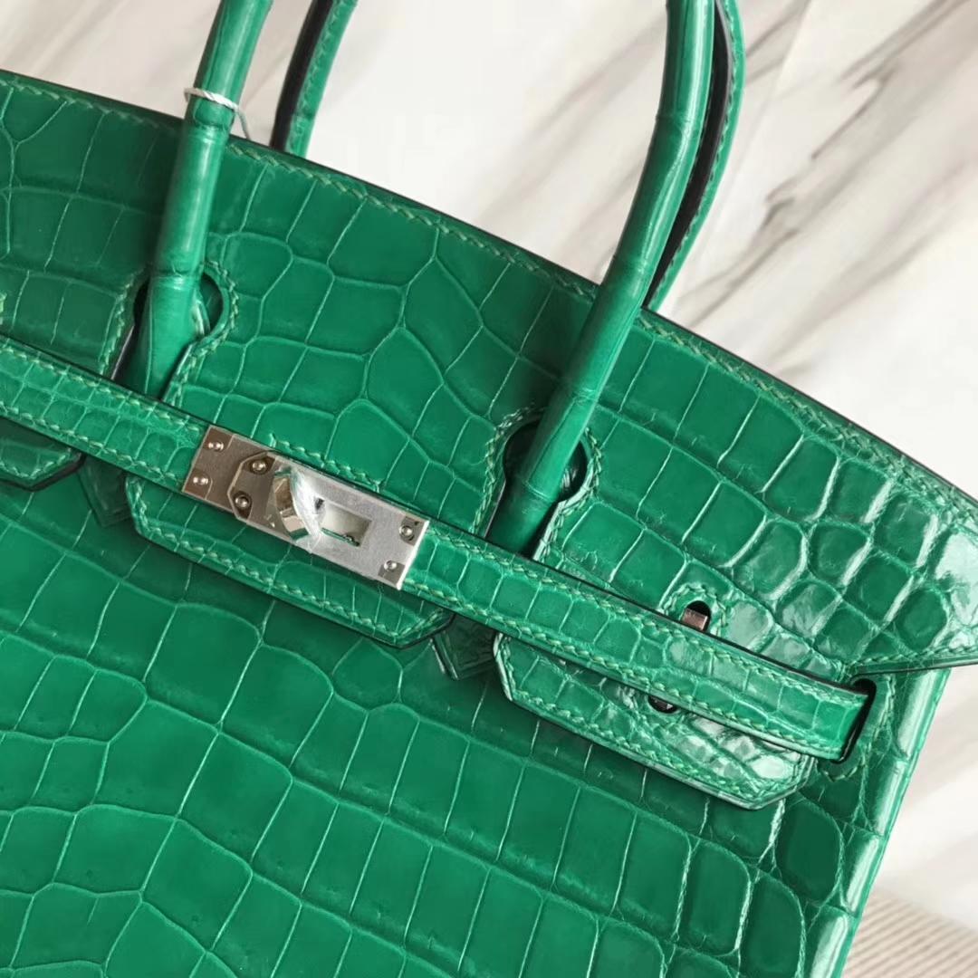 Hermès(爱马仕)Birkin25cm Crocodile shiny 亮面鳄鱼 6Q 翡翠绿 银扣