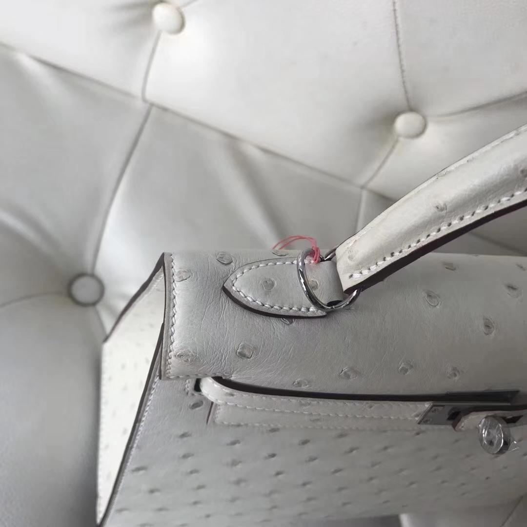 Hermès(爱马仕)Kelly25cm Ostrich kk鸵鸟 3C 羊毛白 银扣