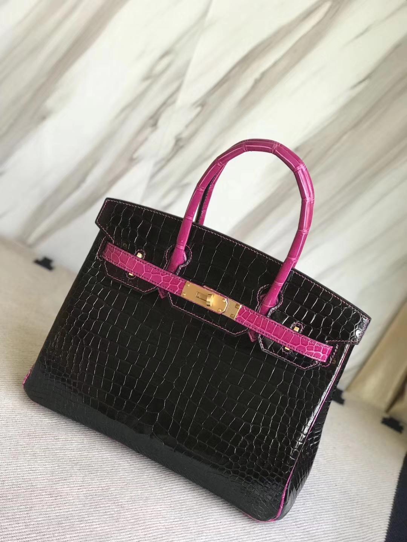 Hermès(爱马仕)Birkin30cm Porosus shiny 亮面澳洲湾鳄 ck89 黑色拼天方夜谭粉紫 拉丝金扣 马蹄印