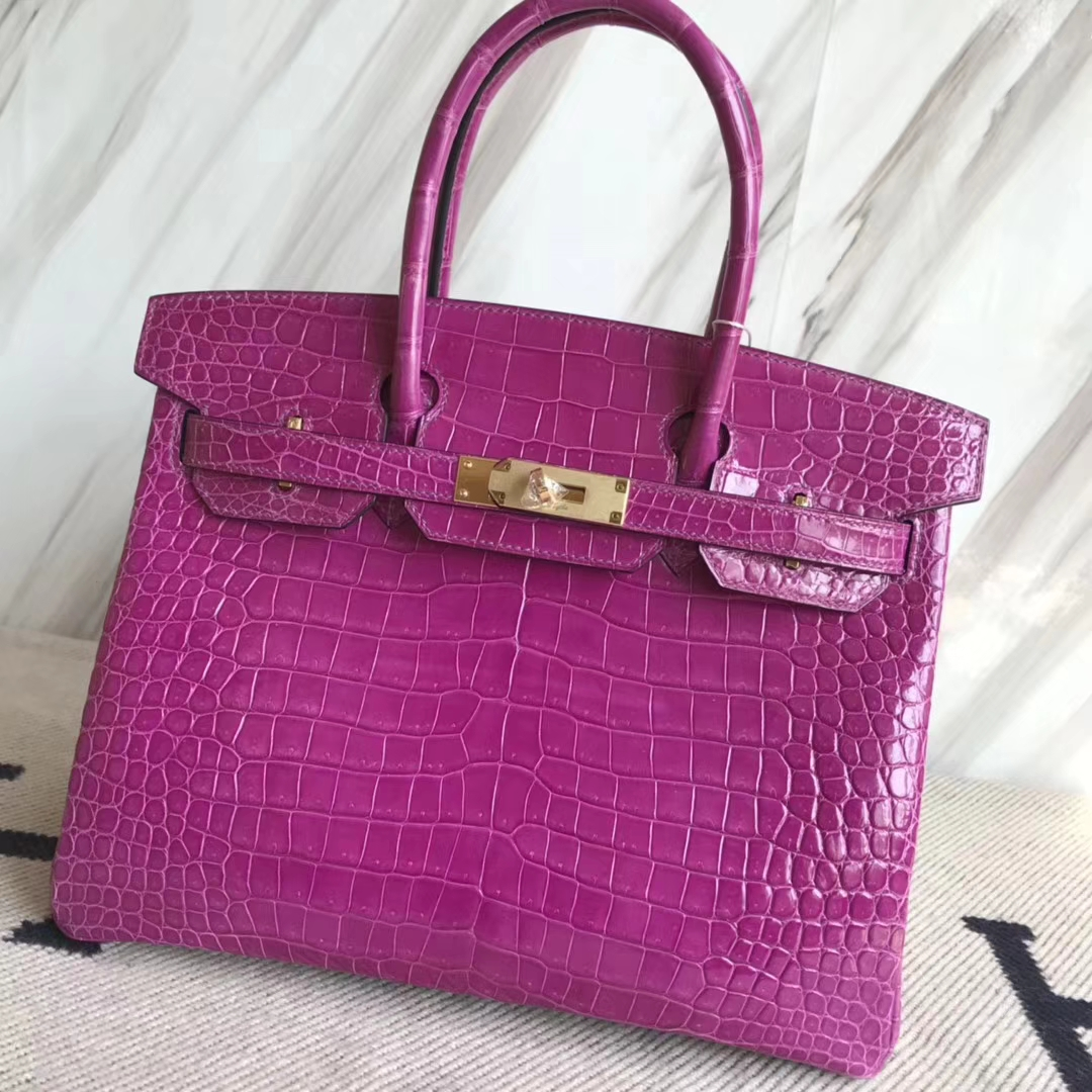 Hermès(爱马仕)Birkin30cm Porosus shiny 亮面澳洲湾鳄  L3 玫瑰紫 rose purple金扣