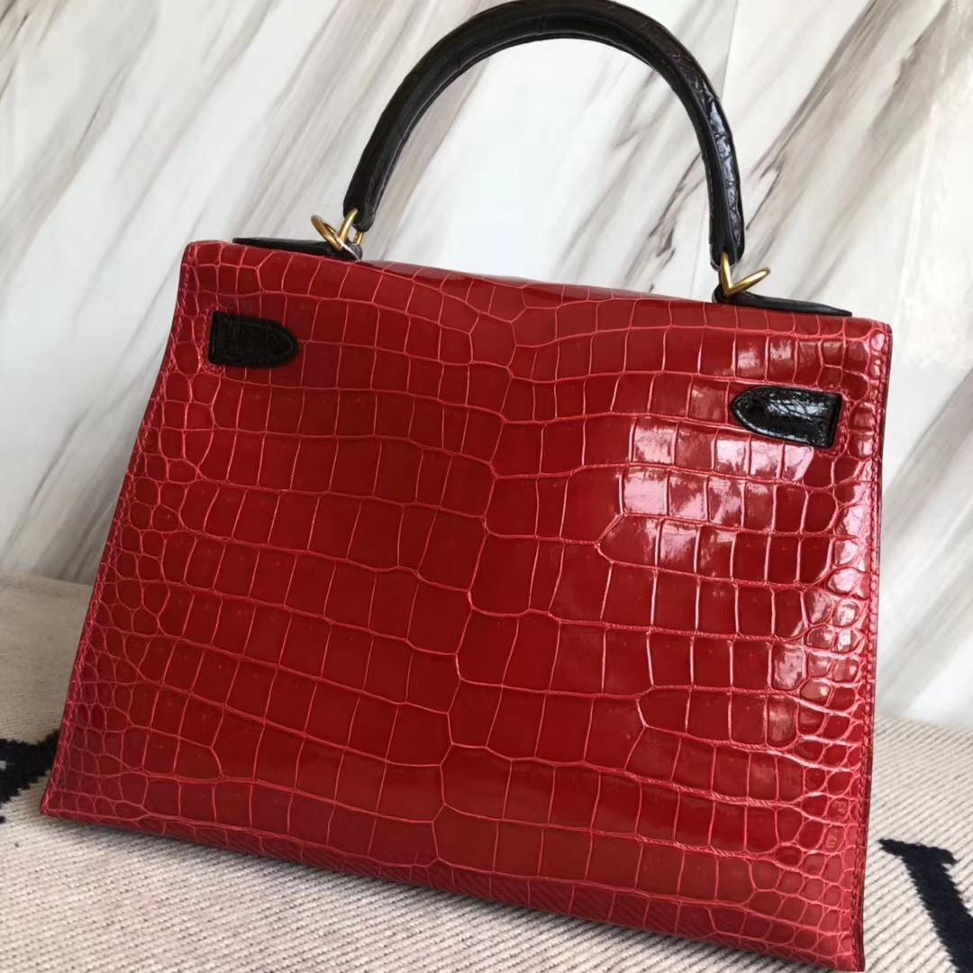Hermès(爱马仕)Kelly28cm Porosus shiny 亮面 澳洲湾鳄鳄鱼 ck95 法拉利红ck89 黑色  马蹄印金扣