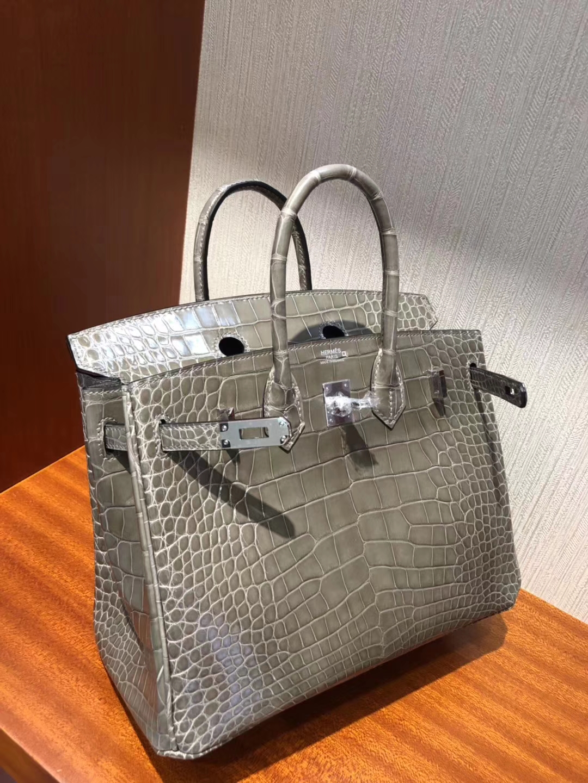 Hermès(爱马仕)Birkin25cm Alligator shiny 亮面鳄鱼 ck18 斑鸠灰 Gris T 银扣
