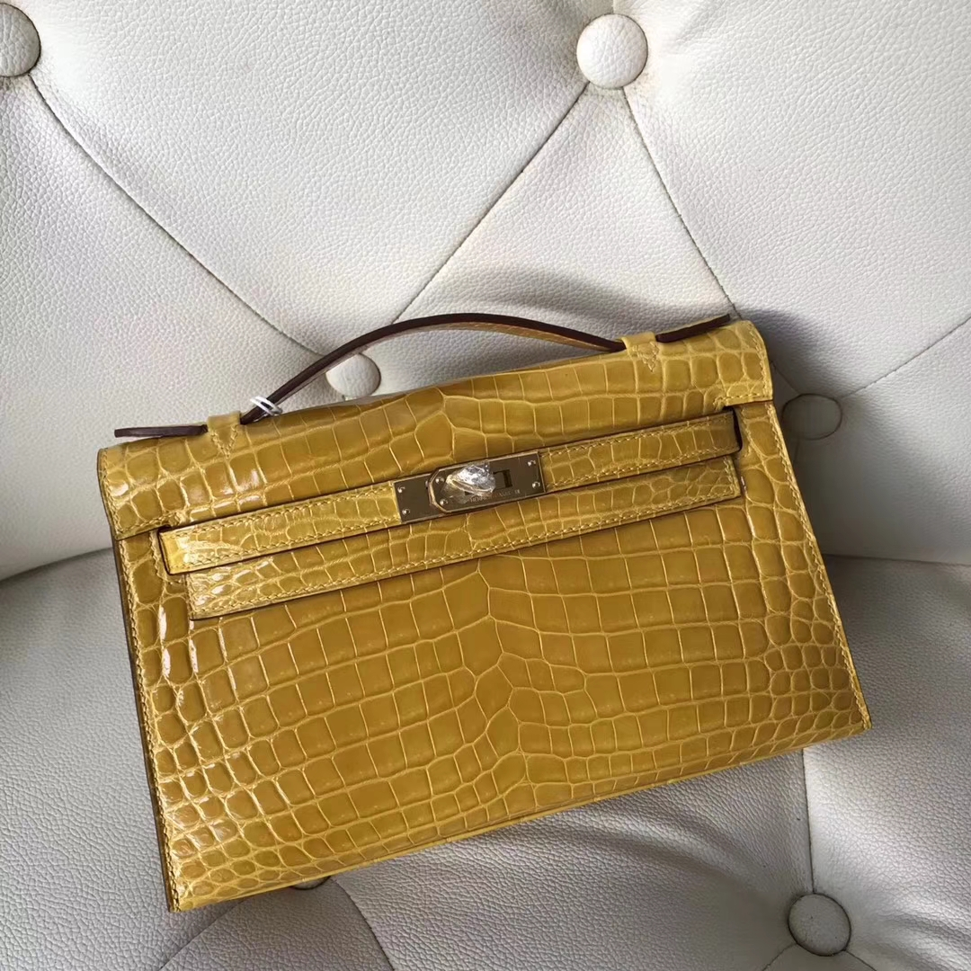 Hermès(爱马仕)Minikelly pochette Alligator shiny 亮面鳄鱼9D 琥珀黄 Ambre 金扣