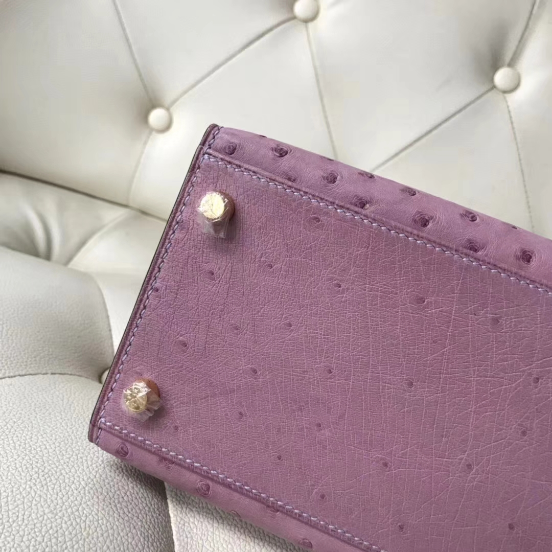 Hermès(爱马仕)Kelly 28cm ostrich kk鸵鸟 薰衣草紫 顶级工艺 蜡线全手工 金扣 接受定制