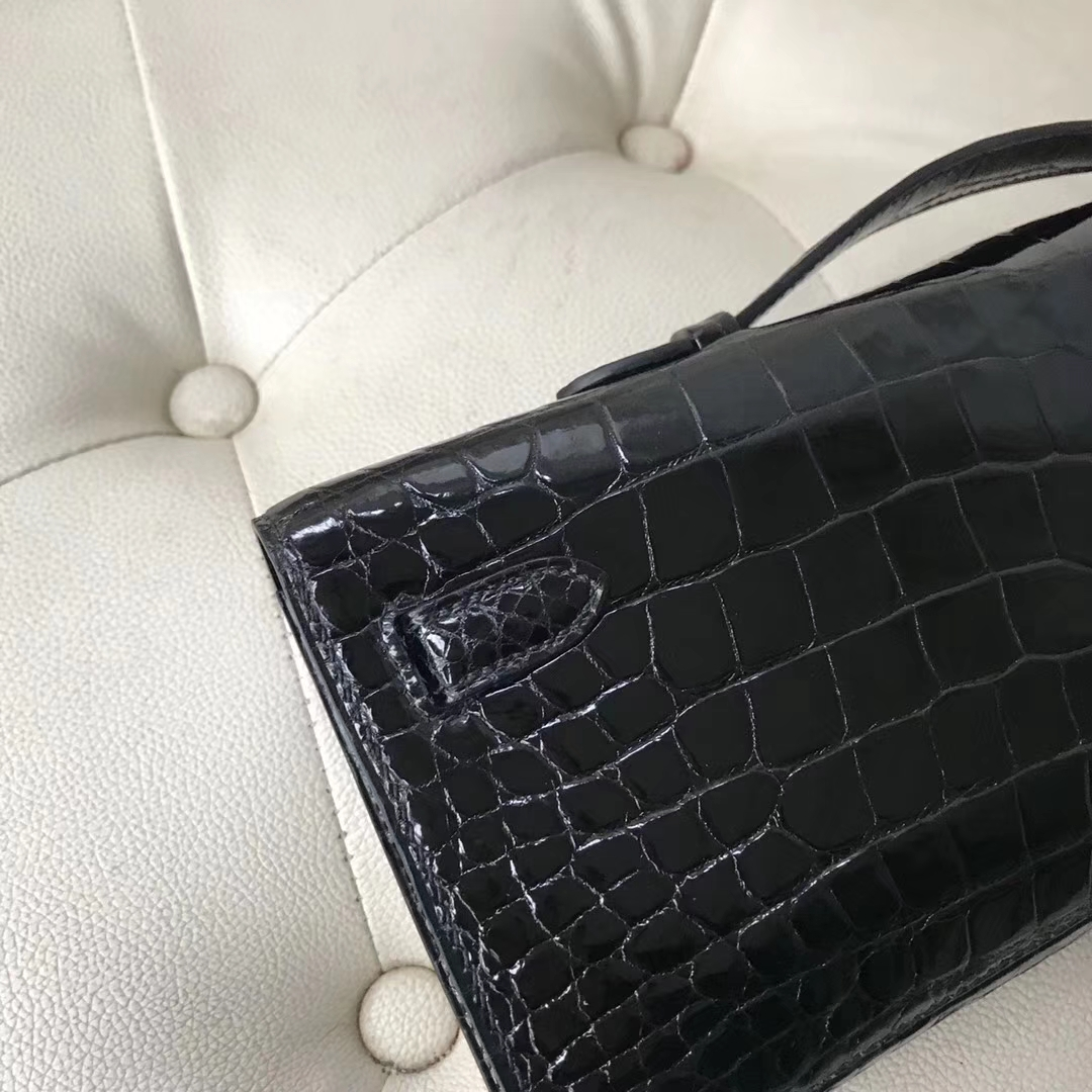 Hermès(爱马仕)Kelly cut 31cm porosus shiny 亮面鳄鱼 ck89 黑色 银扣