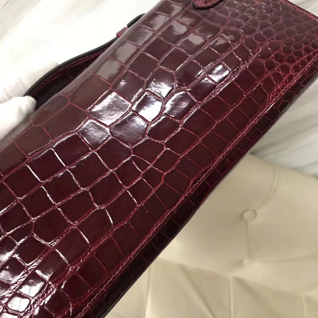 Hermès(爱马仕)Kelly cut 31cm porosus shiny 亮面鳄鱼 波尔多酒红 金扣