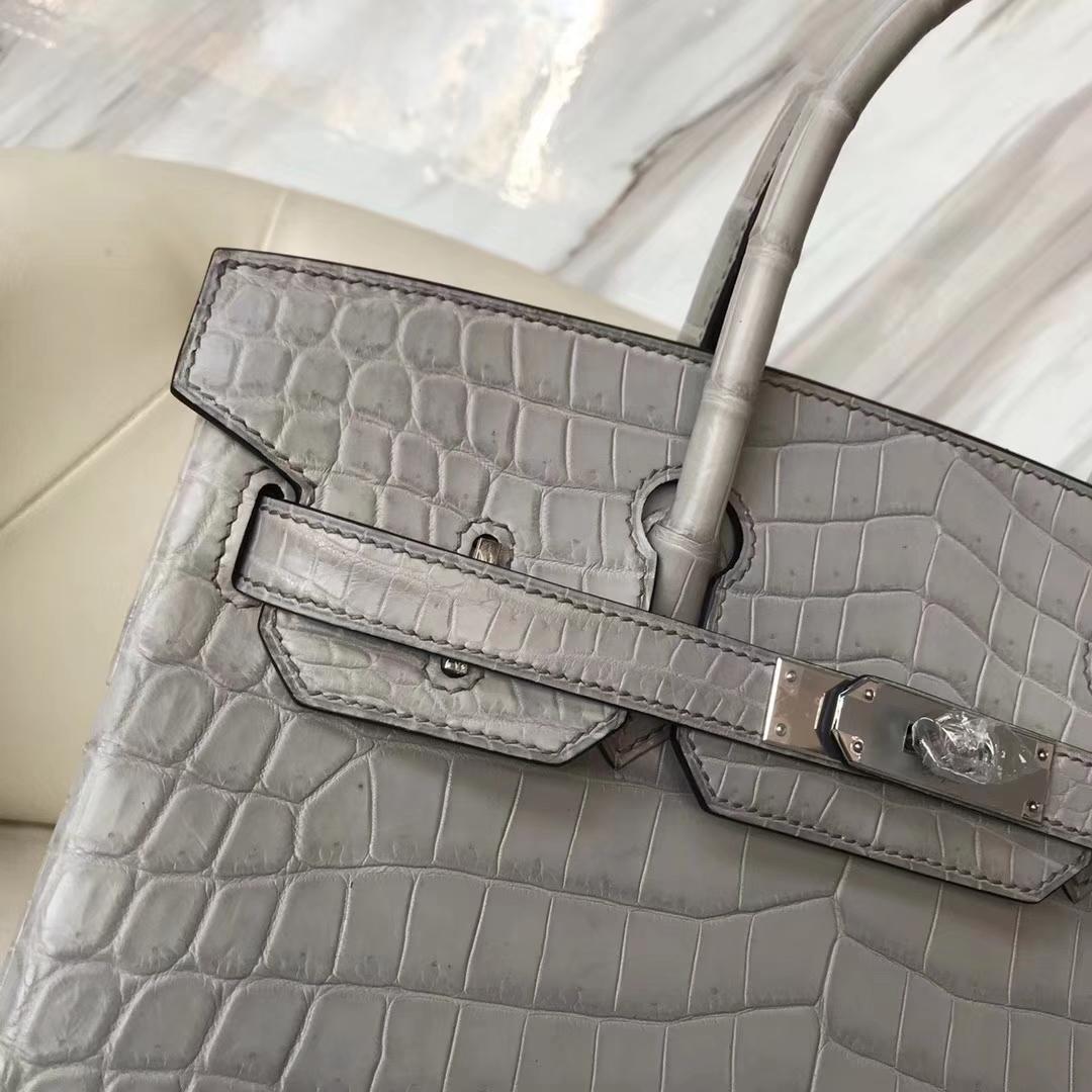 Hermès(爱马仕)Birkin30cm Matt crocodile 8M银河灰 蜡线全手工
