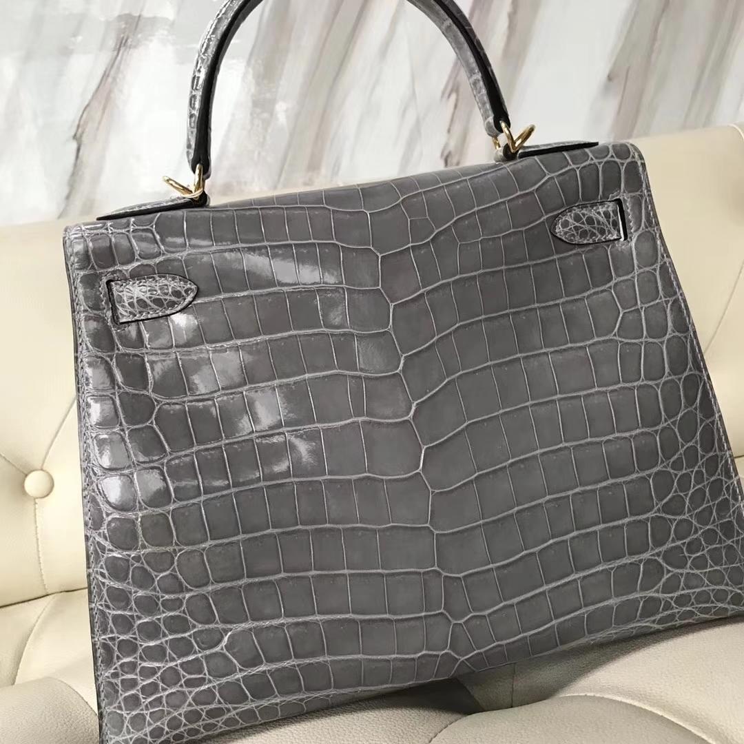Hermès(爱马仕)Kelly28cm shiny nilo crocodile 8U冰川蓝 顶级工艺 蜡线全手工 金扣