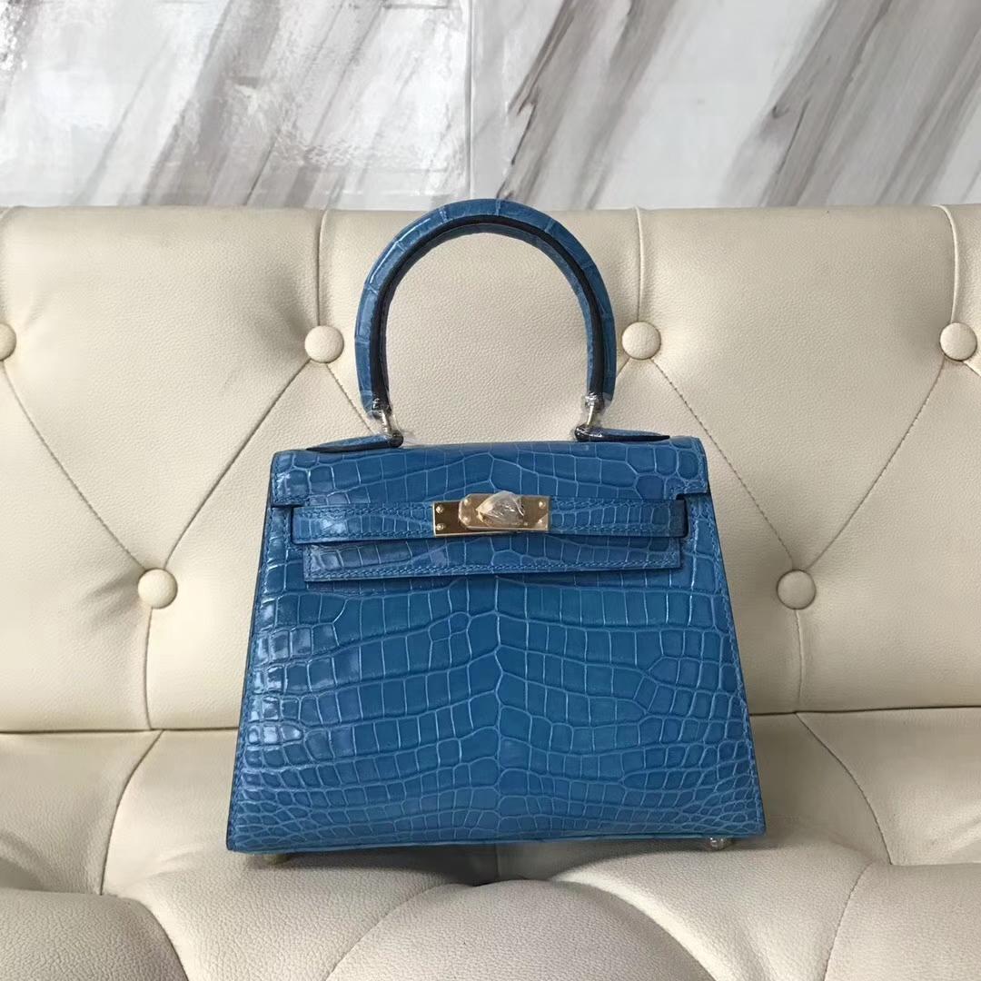 Hermès(爱马仕)Kelly 20cm shiny crocodile 亮面两点尼罗鳄 7Q希腊蓝 蜡线全手工 接受定制