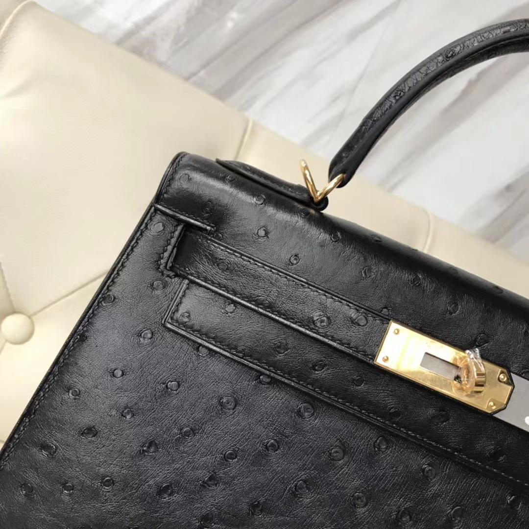 Hermès(爱马仕)Kelly28cm ostrich kk鸵鸟 顶级鸵鸟皮 ck89黑色 蜡线全手工 金扣一枚