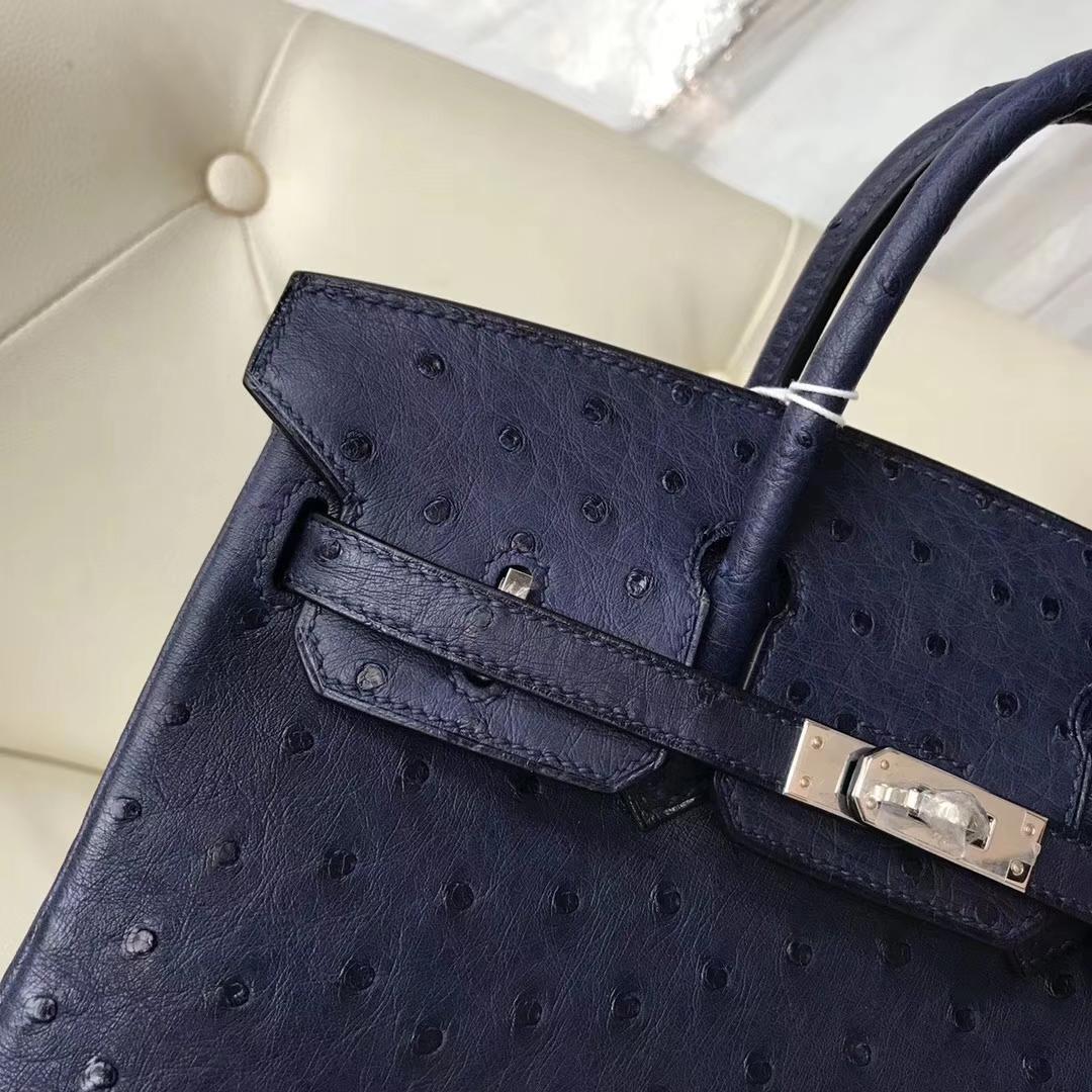 Hermès(爱马仕)Birkin25cm ostrich kk鸵鸟 顶级鸵鸟皮 ck73宝石蓝 蜡线全手工 银扣