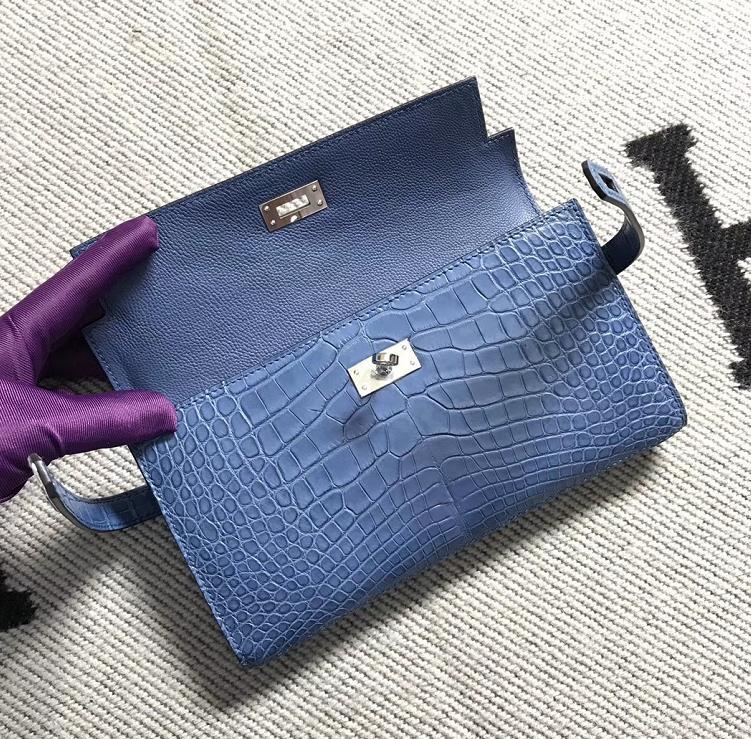 Hermès(爱马仕)钱包牛仔蓝美洲亚光 银扣