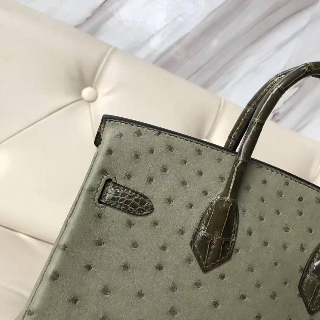 Hermès(爱马仕)Birkin25cm ostrich kk鸵鸟皮 v6丛林绿拼亮面橄榄绿鳄鱼内拼 I9杏黄色 蜡线全手工 金扣