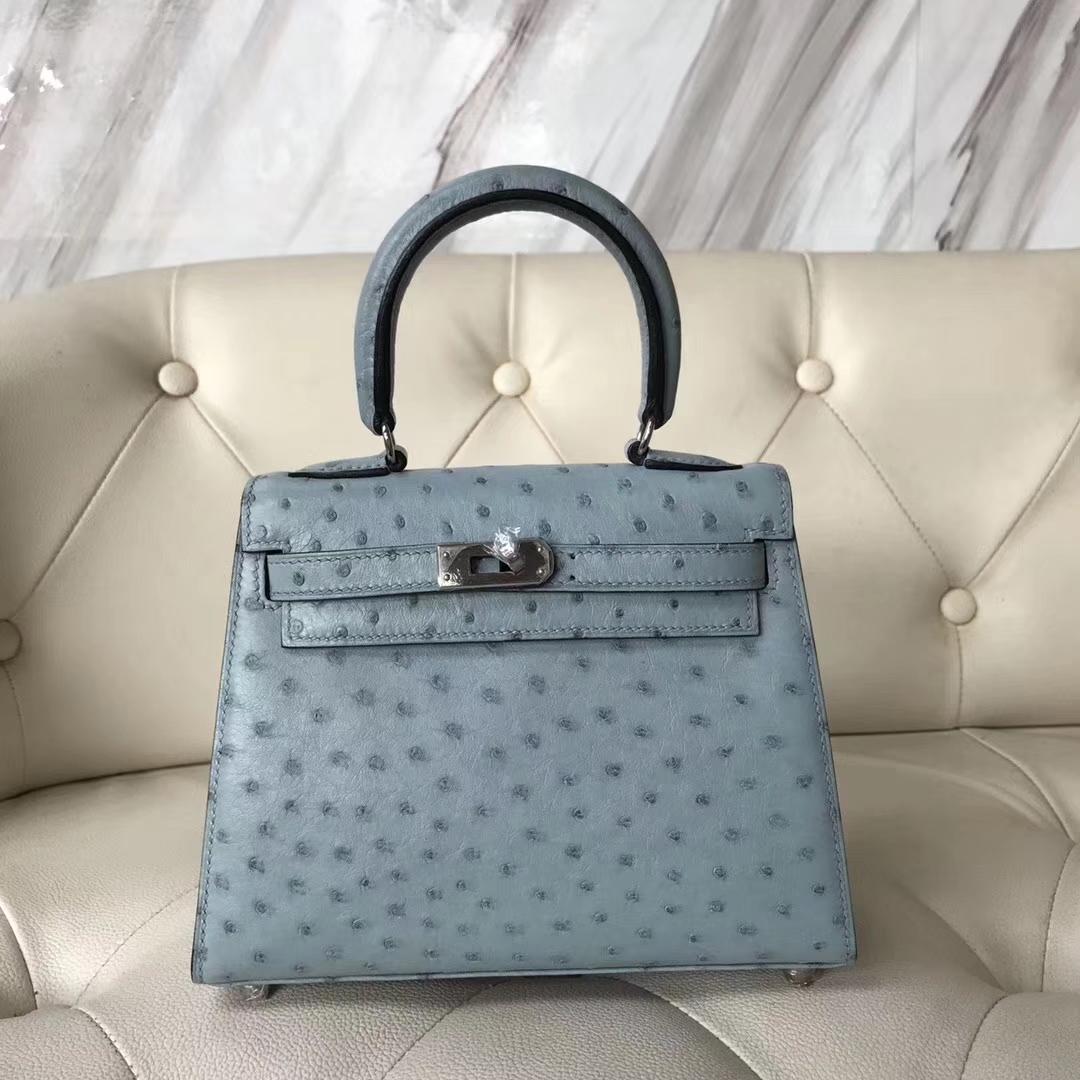 Hermès(爱马仕)Kelly 20cm 大耳朵 kk鸵鸟皮 8U冰川蓝 银扣 接受定制
