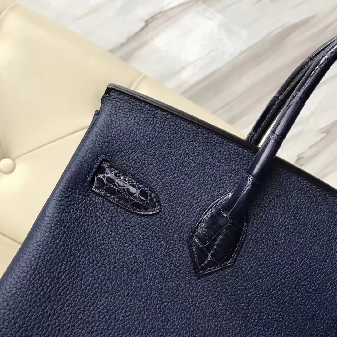 Hermès(爱马仕)Birkin30cm togo ck37宝石蓝拼亮面鳄鱼 ck78深海蓝 顶级工艺 蜡线全手工 玫瑰金