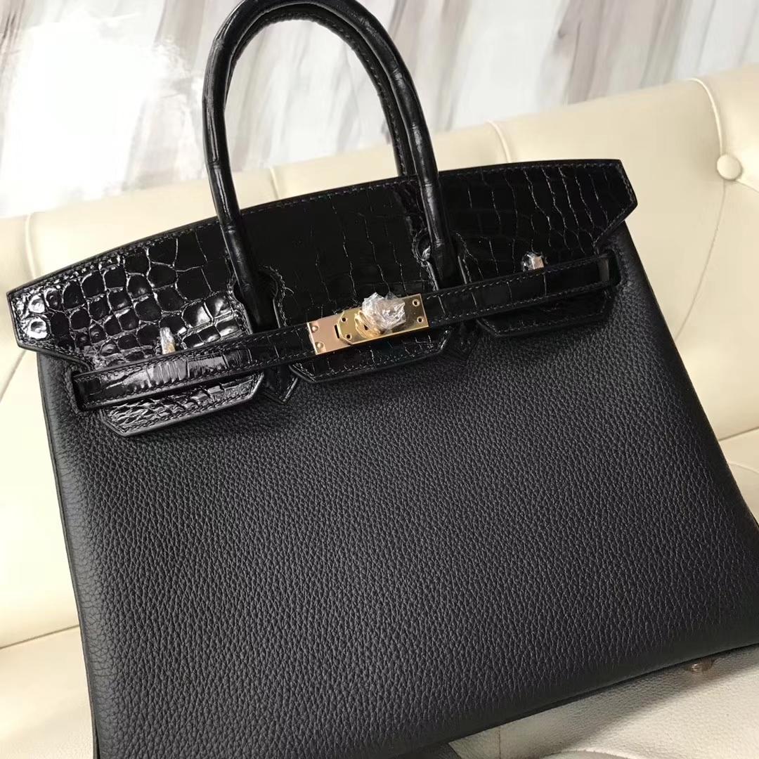 Hermès(爱马仕)Birkin25cm togo 鳄鱼 ck89 黑色  玫瑰金 Rose gold 定制款