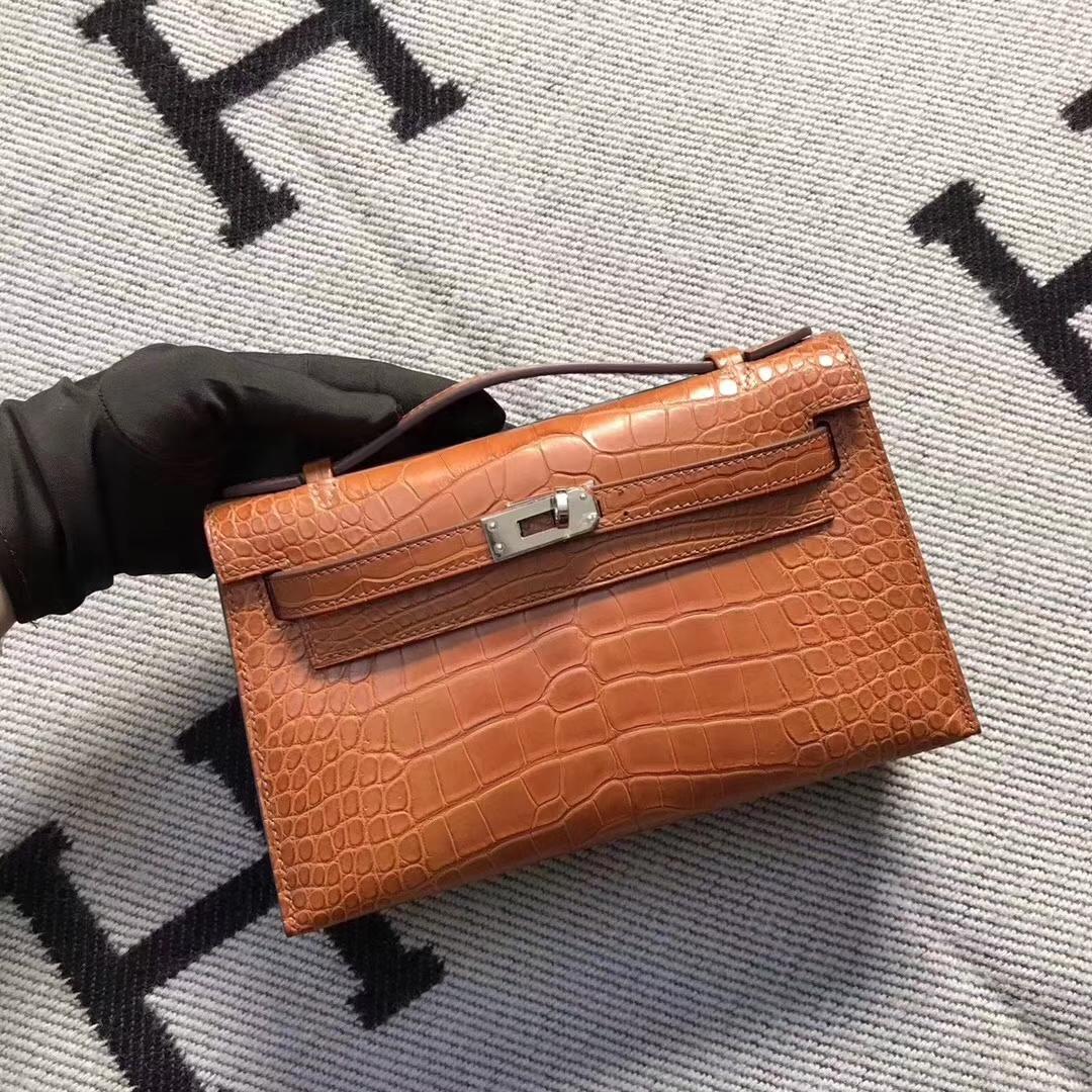 Hermès(爱马仕)迷你凯莉包 mini kelly 极品南瓜橙 美洲雾面鳄鱼 现货 22cm
