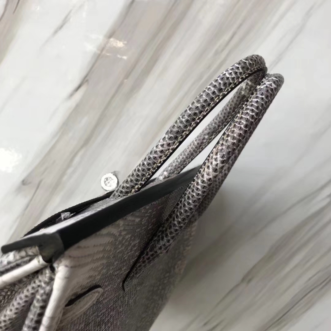 Hermès(爱马仕)Birkin铂金包 Lizard 进口亮面蜥蜴 小喜马拉雅色 银扣 25cm 现货