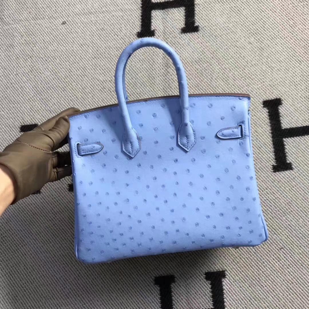 Hermès(爱马仕)brikin铂金包 南非鸵鸟皮 粉蓝色 银扣 现货 25cm