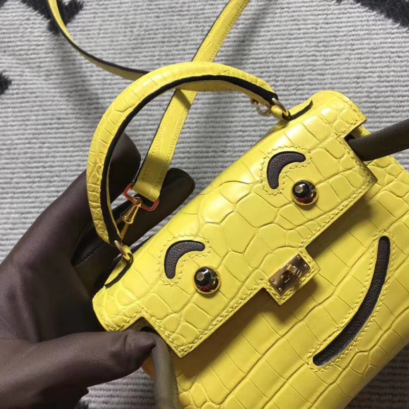 Hermès(爱马仕)Kelly doll 蛋黄色 雾面鳄鱼 原单品质 16cm