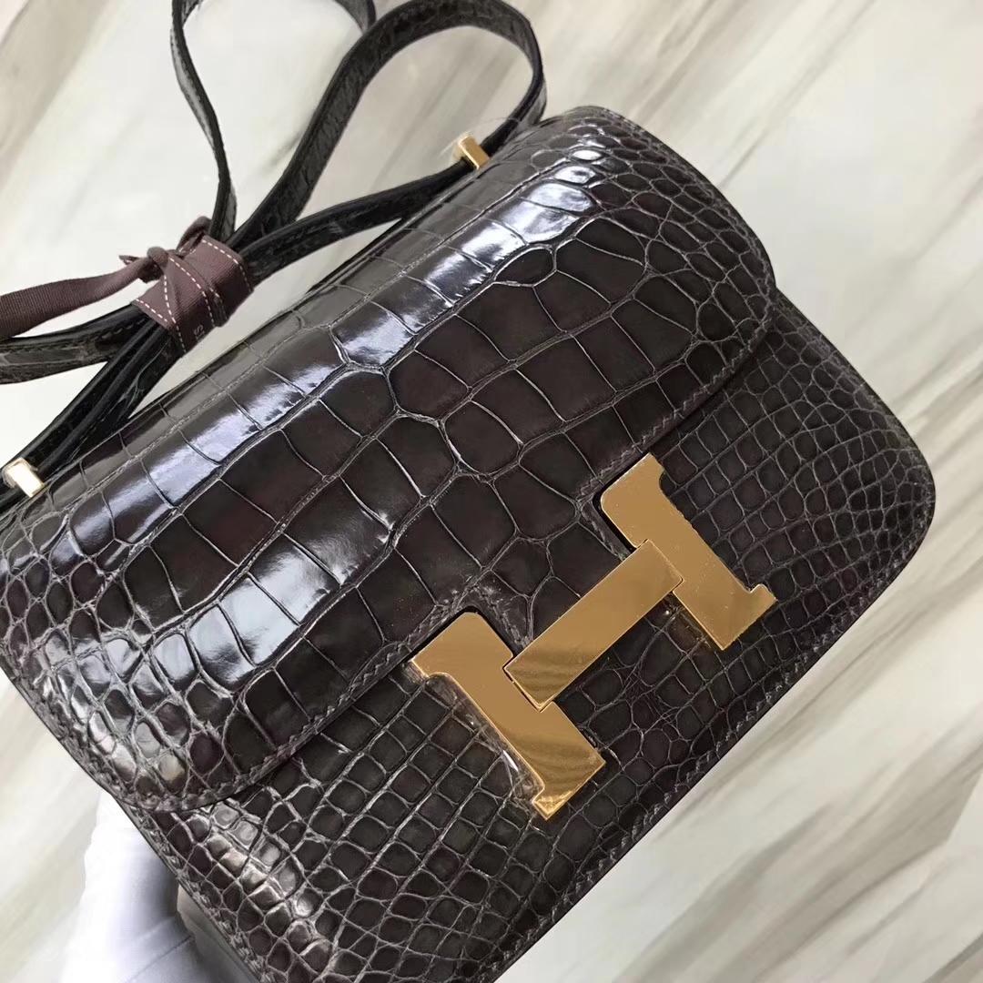 Hermès(爱马仕)Constance Alligator shiny 亮面鳄鱼 ck88 石墨灰 金扣 18cm 顶级现货