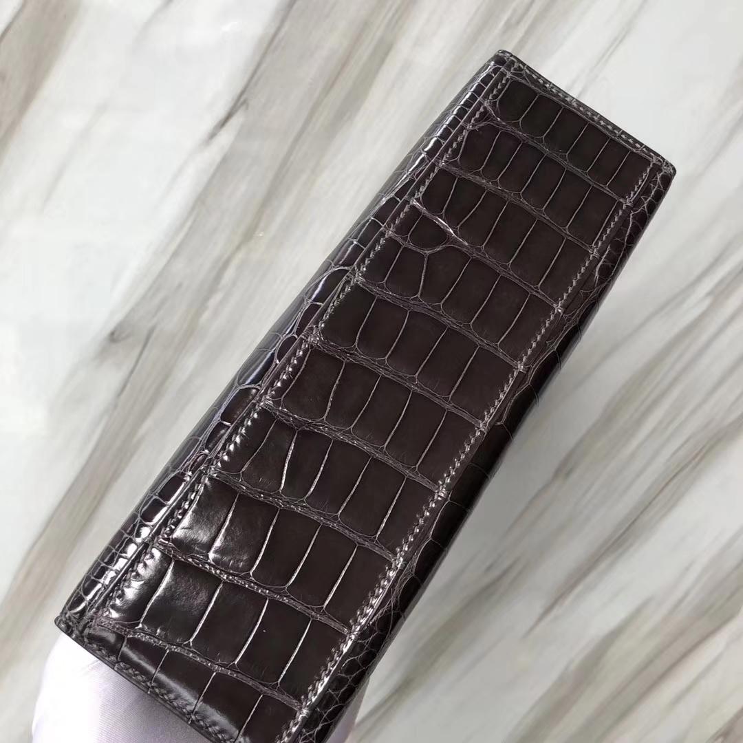 Hermès(爱马仕) Minikelly pochette Alligator shiny 亮面鳄鱼 CK88 石墨灰 金扣 手拿包 晚宴包 22cm