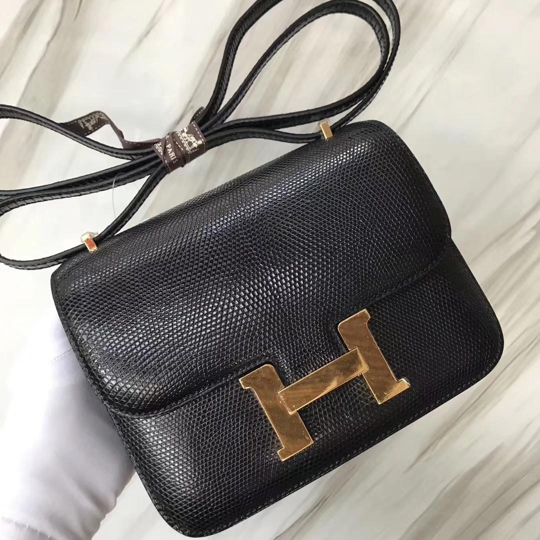 Hermès(爱马仕)Constance空姐包 Lizard 进口亮面蜥蜴🦎 ck89 黑色 noir  金扣 18cm