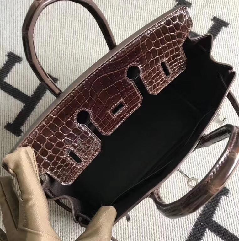Hermès(爱马仕)Birkin铂金包 深咖啡色 银扣 完善品质 25cm