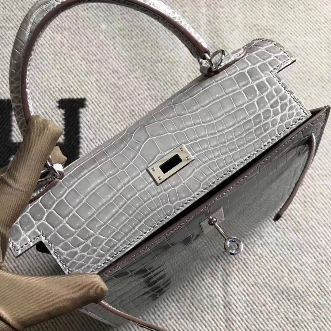 Hermès(爱马仕)Kelly凯莉包 斑鸠灰 银扣 尼罗鳄 现货 25cm