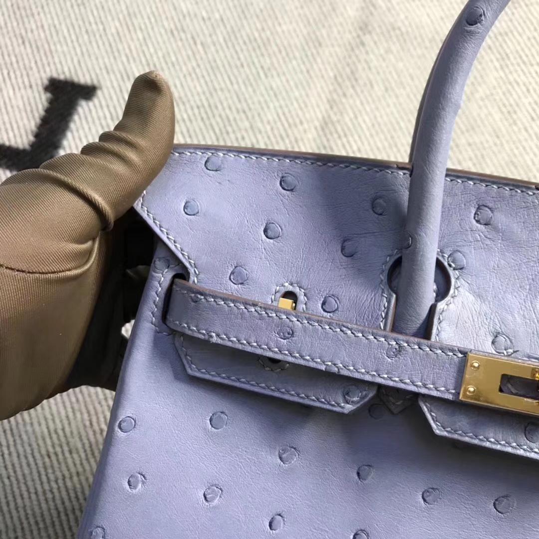 Hermès(爱马仕)brikin铂金包 南非鸵鸟皮 灰蓝色 金扣 现货 25cm